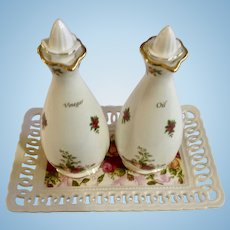 Royal Albert Old Country Roses Oil and Vinegar Cruet Tray Set With Serving Plate Rare Hard to Find
