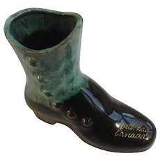 Blue Mountain Pottery Boot North Bay Canada Souvenir Shoe Figurine Discontinued