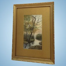 Old Landscape Watercolor Painting, Tree Down By The River, Monogrammed D.S.