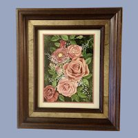 Pink Roses and Babies Breath Floral Arrangement Oil Painting