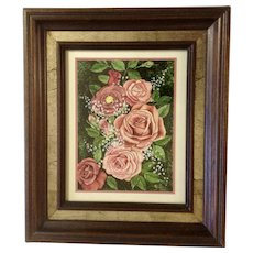 Cluster or Pink Roses and Babies Breath Floral Arrangement Oil Painting Signed By Artist 1982