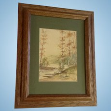 Fairly, Original Watercolor Painting At the Rivers Edge Signed By Artist 1930