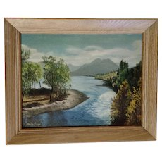 Shirley Ewell, Landscape Oil Painting on Board Where The Lake Spills Into The River Signed By Artist
