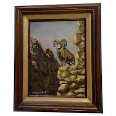 Charyl Crutchfield Bighorn Sheep On Rocky Canyon Outcropping Wildlife Oil Painting on Canvas Signed by Artist