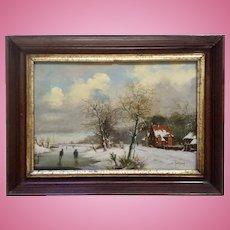 W. Koekkoek, Flemish Dutch Winter Scene Figural's on Frozen River Netherlands Old Master Oil Painting On Wood Plank 19th Century Signed By Artist