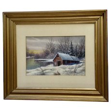 A Stephani, Cabin In a Winter Countryside Original Landscape Watercolor Painting Signed by Artist