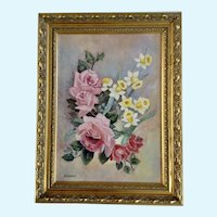 Pink Roses and Yellow Daffodils Still Life Oil Painting