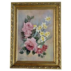 Pink Roses and Yellow Daffodils Still Life Oil Painting Signed By Artist Valerie