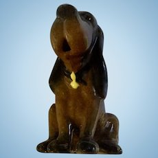 Hagen Renaker Miniature Bloodhound Seated Pottery Dog Figurine Mouth Opened Made - 60s & 1985-1989
