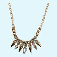 Copper Colored Spike and Rhinestone Necklace Costume Jewelry 19""