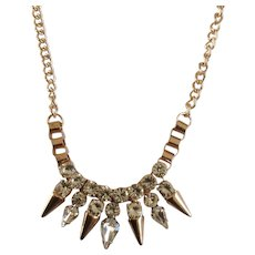 """Copper Colored Spike and Rhinestone Necklace Costume Jewelry 19"""""""
