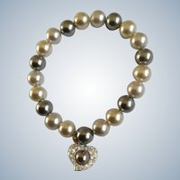 Faux Pearls with Dangling Rhinestone Heart Charm Bracelet Costume Jewelry