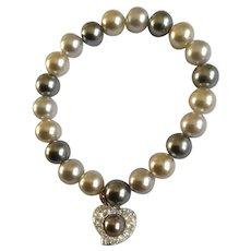 Faux Pearls with Dangling Rhinestone Heart Charm Bracelet Costume Jewelry