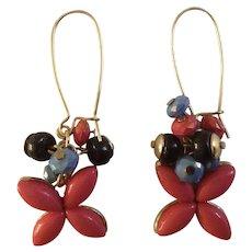 "Dangling Pink Beaded Flower Earrings with Long Locking Loops For Pierced Ears Costume Jewelry 1"""