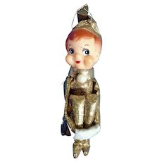 Mid-Century Christmas Metallic Gold Knee Hugger Elf Boy Pixie On A Shelf Ornament Japan