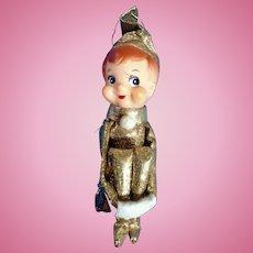 Mid-Century Christmas Metallic Gold Knee Hugger Elf Boy Pixie On A Shelf Ornament Japan
