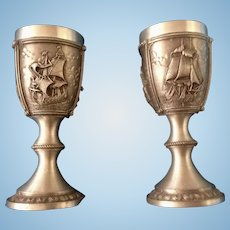 Rein Zinn 95% Pewter Small Chalice Cups Navel Sailing Ships Shot Glasses