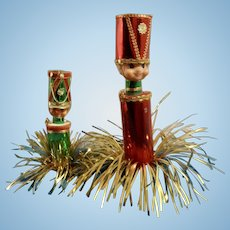 Mid-Century Soldier Boys Table Decorations or Christmas Tree Ornaments With Metallic Gold, Red and Green Foil Japan Ephemera