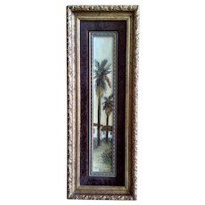 Pat Kennerty, Two Palm Trees by Residence, Thin Landscape Oil Painting On Canvas Panel Board Signed By Listed Artist
