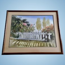 Pink Roses at the White Picket Fence Original Large Watercolor Painting Signed by Kirkland Washington Artist Shane