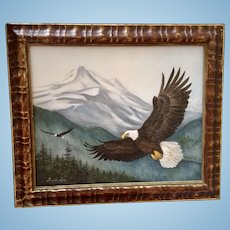 Fumiko Lyu, American Bald Eagles Flying Mixed Media Original Painting Signed By Artist
