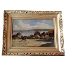 19th Century Impressionist Coastal Scene Seascape Oil Painting on Canvas