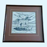 Kerstin Steiner, Pointillism Stallion Horse Galloping Original Ink On Paper