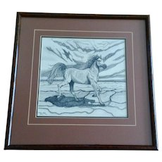 Kerstin Steiner, Pointillism Stallion Horse Galloping Across A Dry Desert Original Ink On Paper Signed By Artist