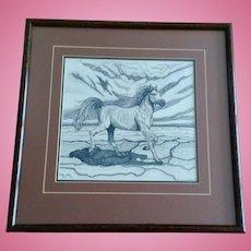 Kerstin Steiner, Pointallism Stallion Horse Galloping Across A Dry Desert Original Ink On Paper Signed By Artist