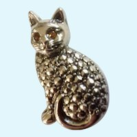 Cat With Amber Rhinestone Eyes Lapel Pin Tie Tac