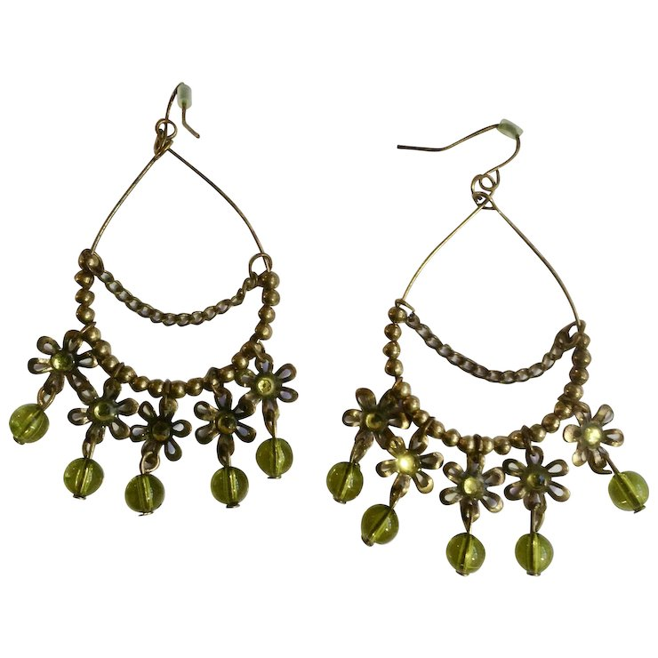 Dangling Green And Bronze Colored Beads On Fishhook Earrings For Pierced Ears Costume Jewelry 2