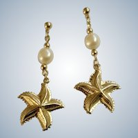 Dangling Gold-Tone Starfish Earrings With Faux Pearl Beads Stud Posts for Pierced Ears Costume Jewelry 1-3/4""