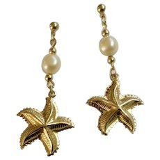 """Dangling Gold-Tone Starfish Earrings With Faux Pearl Beads Stud Posts for Pierced Ears Costume Jewelry 1-3/4"""""""