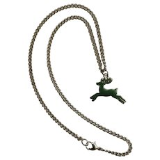 """Jumping Green Reindeer Pendant on Silver-Tone Chain Necklace 17"""""""