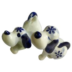 Vintage Delft Blue Puppy Dogs Bone China Animal Figurines
