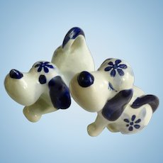 Vintage Delft Blue Puppy Dogs Bone China Animal Figurines