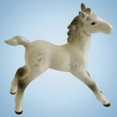 Beswick England Foal Large Stretched Model 836 Horse Figurine Very Rare White and Gray Gloss Colt With Brown Eyes Second Edition