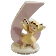 Mid-Century Norcrest Happy Birthday Angel Girl Six Years Old 6 Cake Candle Holder Figurine F-283 Mid-Century Cake Topper