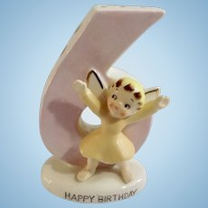 Norcrest Happy Birthday Angel Girl Six Years Old 6 Cake Candle Holder Figurine F-283 Mid-Century Cake Topper