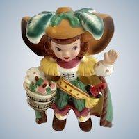 Mid-Century Napco Pirate Brown Hair Girl Bobby Shaftoe Nursery Rhyme K2559 Ceramic Figurine Japan