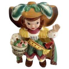 Napco Pirate Brown Hair Girl Bobby Shaftoe Nursery Rhyme K2559 Ceramic Figurine Mid-Century Japan