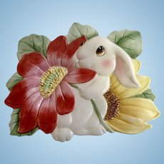 Fitz and Floyd Essentials Bunny Blooms Canapé Plate Rabbit With Pink and Yellow Flowers