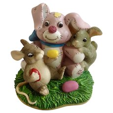 Fitz and Floyd Easter Charming Tails, No Thanks I'm Stuffed Bunny Figurine