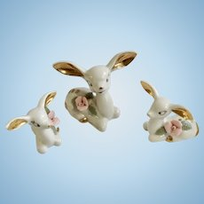 White Deer With Big Ears, Pink Flowers and Gold Highlights Ceramic Figurines Set of Three