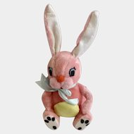 Vintage Dakin Dream Pets Pink Easter Bunny Rabbit Stuffed Plush Animal Holding Yellow Egg