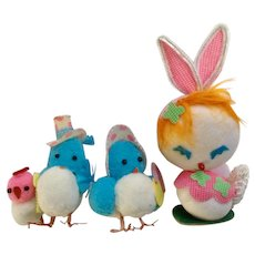 Vintage White, Blue and Pink Material Decorations Bird and Bunny Family Easter Unlimited Group