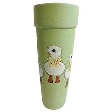 Vintage Green and White Ducks Glazed Terracotta Hand Painted Easter Vase
