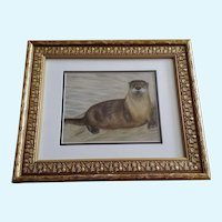 Otter On The Beach Mixed Media Animal Painting
