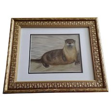 Otter On The Beach Mixed Media Animal Painting Works On Paper