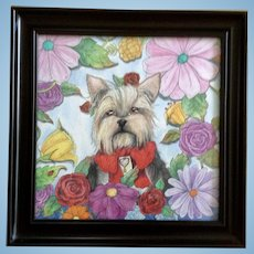 Adorable Yorkshire Terrier, Yorkie Puppy Dog Surrounded By Flowers Portrait Mixed Media Painting Initialed By Artist